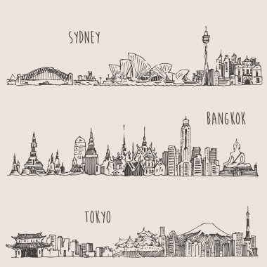 Sketches of hand drawn cities
