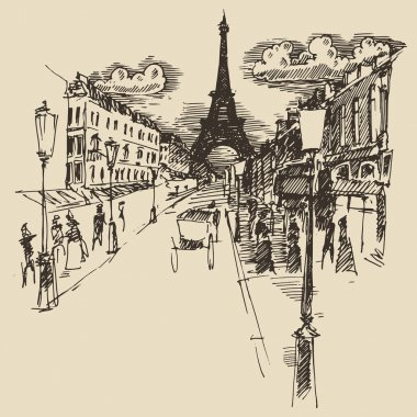 Hand drawn Streets in Paris