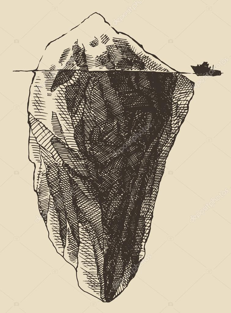 Sketch of  Iceberg with ship