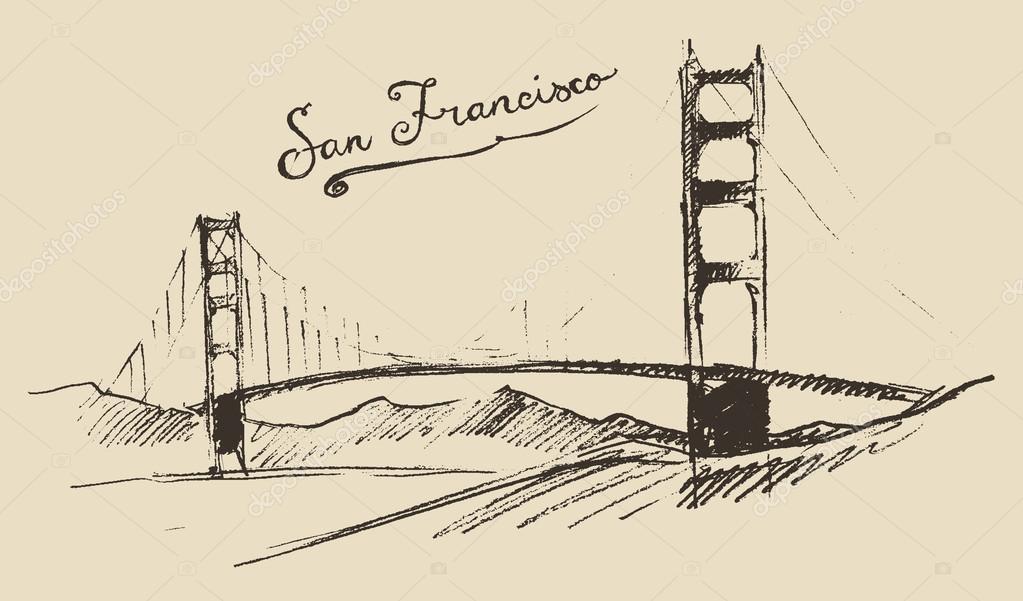 Dessin Du Pont De San Francisco croquis du pont de san francisco — image vectorielle grop © #72755137