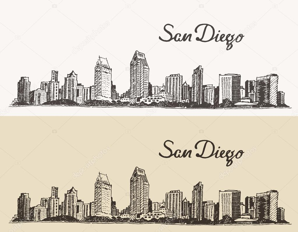 san diego skyline big city vintage engraved vector hand drawn sketch u2014 vector by grop