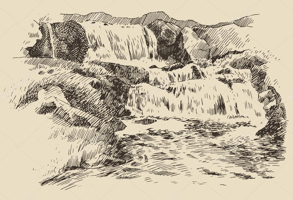Hand drawn Waterfalls landscape