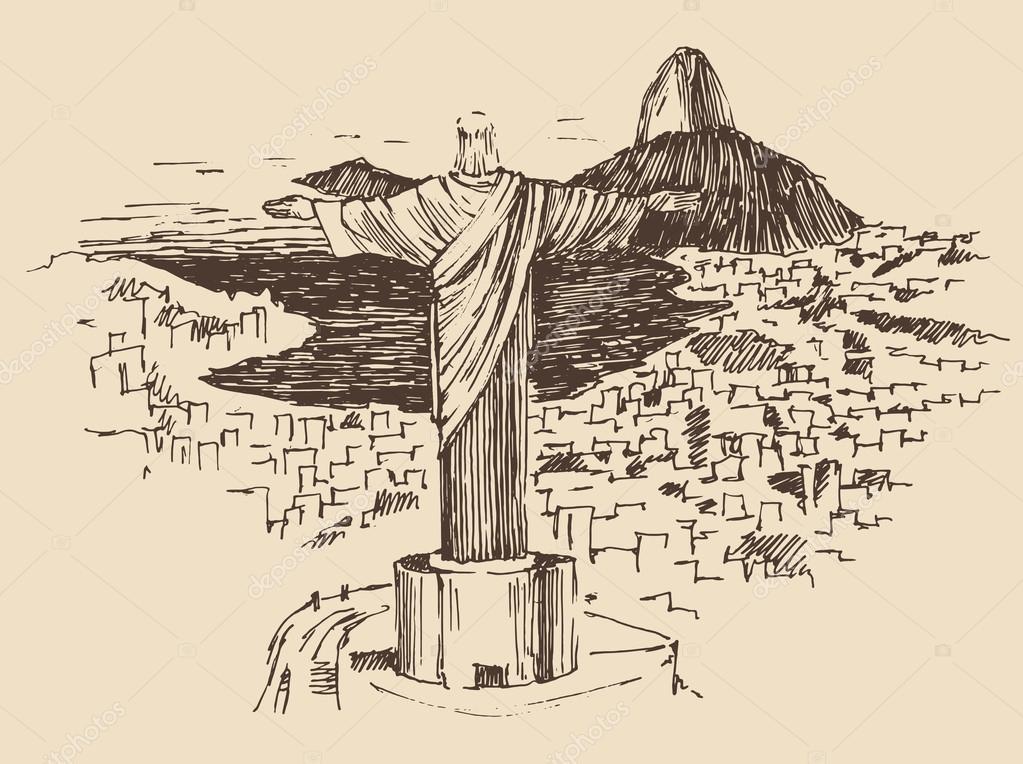 Hand drawn Rio de Janeiro city