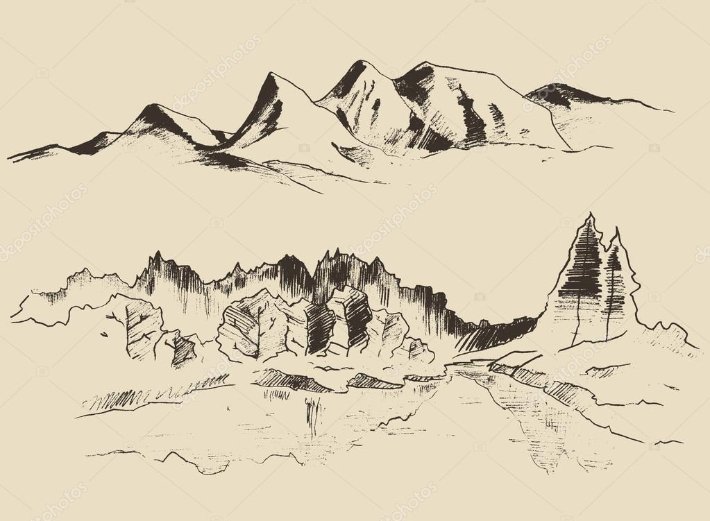 hand drawn contours of the mountains