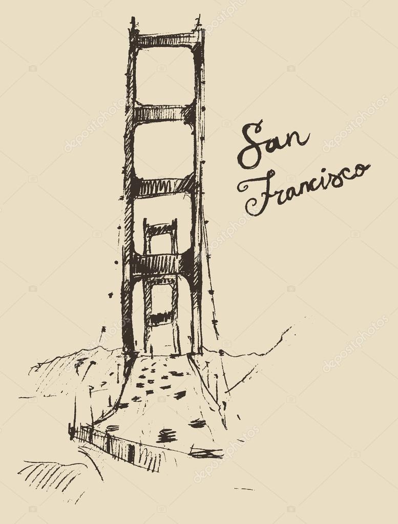 Dessin Du Pont De San Francisco croquis du pont de san francisco — image vectorielle grop © #72757123