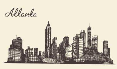 Atlanta skyline engraved hand drawn sketch