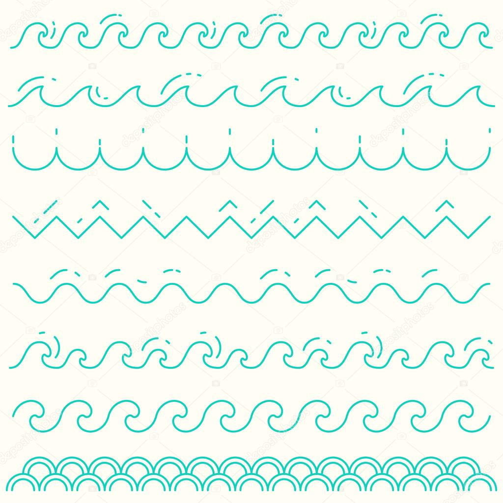 Set linear waves blue wave line pattern vector