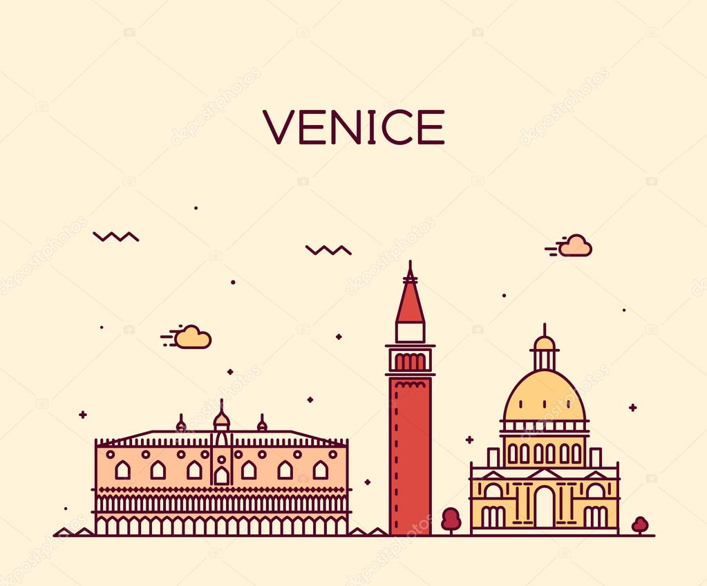 Venice skyline trendy vector illustration linear