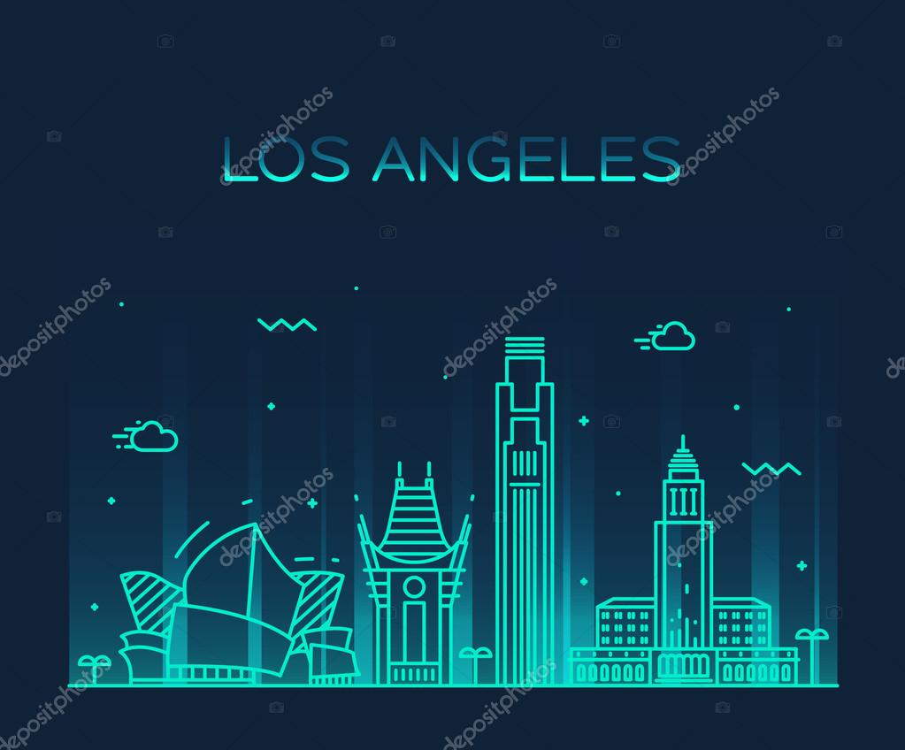 Los Angeles skyline vector illustration linear