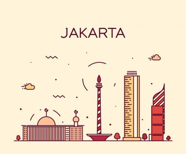 Jakarta skyline trendy vector illustration linear