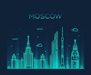 Moscow skyline trendy vector illustration linear