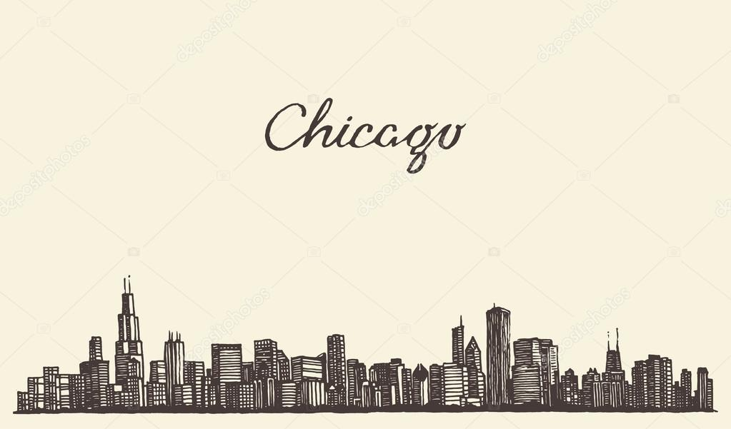 Chicago skyline city engraving vector illustration