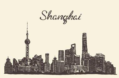 Shanghai skyline vector engraved drawn sketch