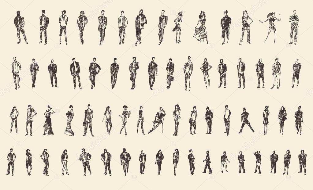 Depositphotos Stock Illustration People Sketch Vector Hand Photo Pencil Drawings