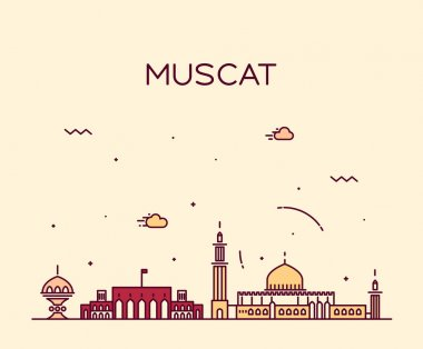 Muscat skyline trendy vector illustration linear