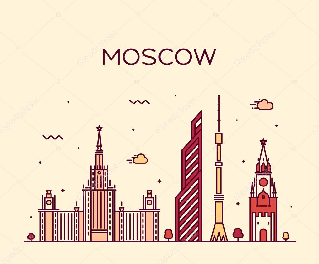 Moscow skyline trendy vector illustration linear