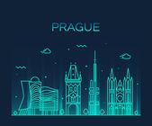 Fotografie Pražské panorama módní vektorové ilustrace lineární