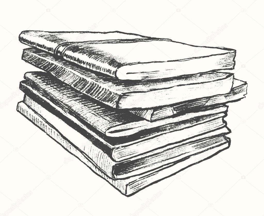 Bücherstapel gezeichnet  alter Bücher Jahrgang gezeichneten Vektor Skizze — Stockvektor ...