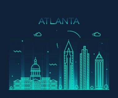 Atlanta skyline trendy vector illustration linear