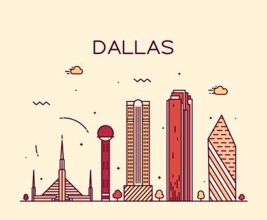 Dallas skyline trendy vector illustration linear