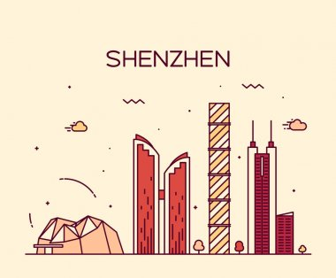 Shenzhen skyline trendy vector illustration linear