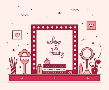 Makeup table vanity linear mirror dressing vector