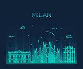 Illustrazione vettoriale dellorizzonte Milano lineare