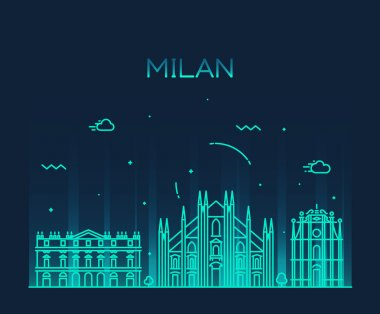 Milan skyline trendy vector illustration linear