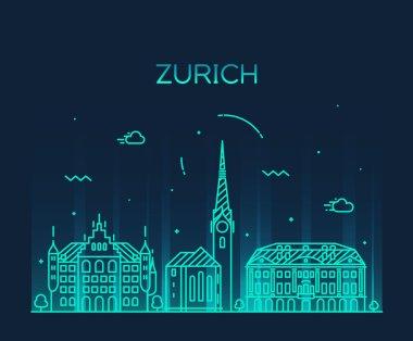 Zurich skyline silhouette illustration linear