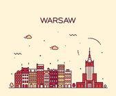 Fotografia Illustrazione di Varsavia dellorizzonte sagoma lineare