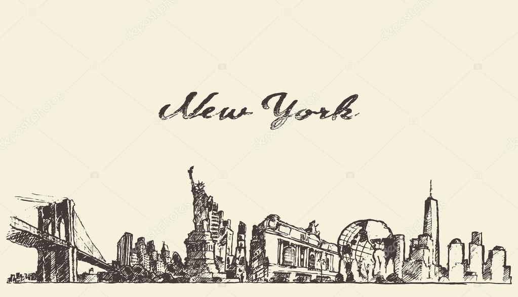 New York city skyline vector engraved drawn sketch