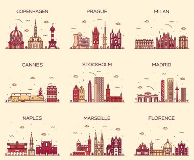 Europe skylines Prague Cannes Madrid line art