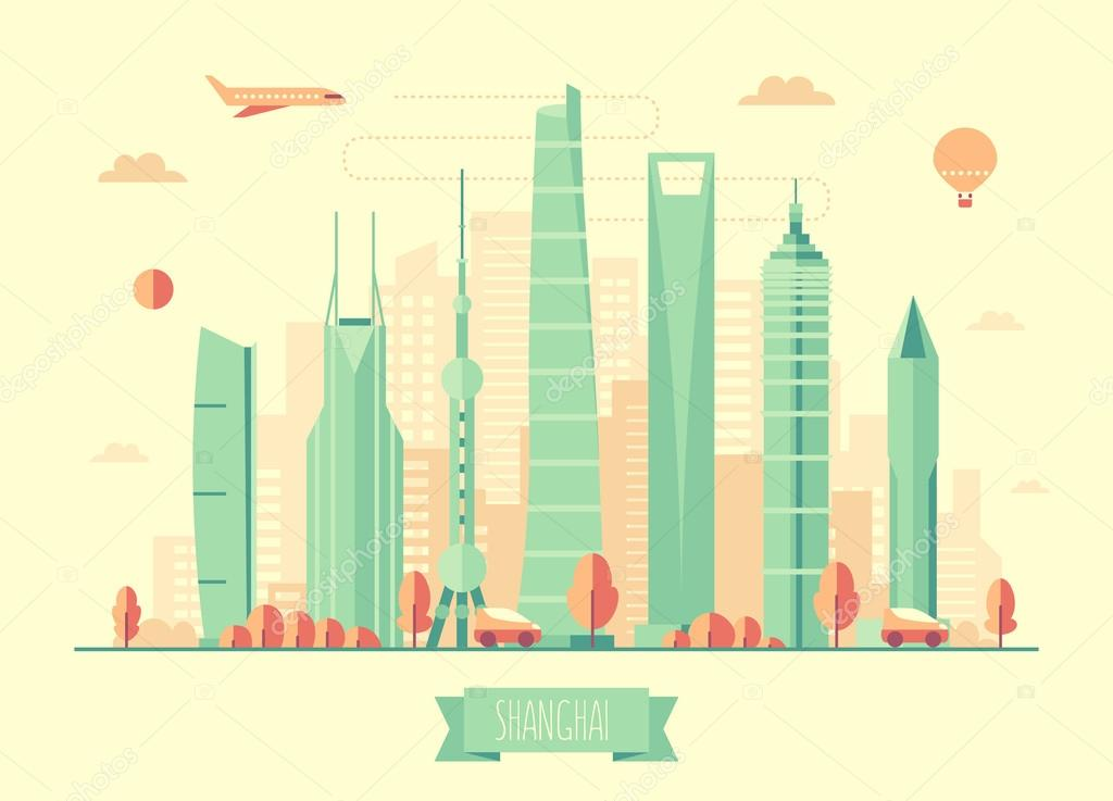 Shanghai skyline architecture vector illustration