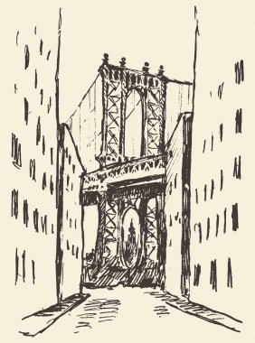 Manhattan bridge New York United States sketch