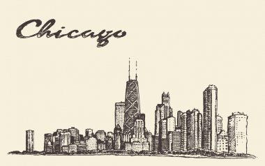 Chicago skyline city architecture vector drawn