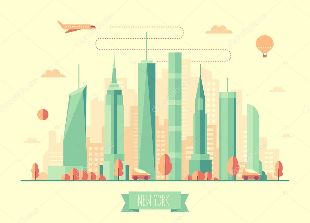 New York city skyline vector illustration flat