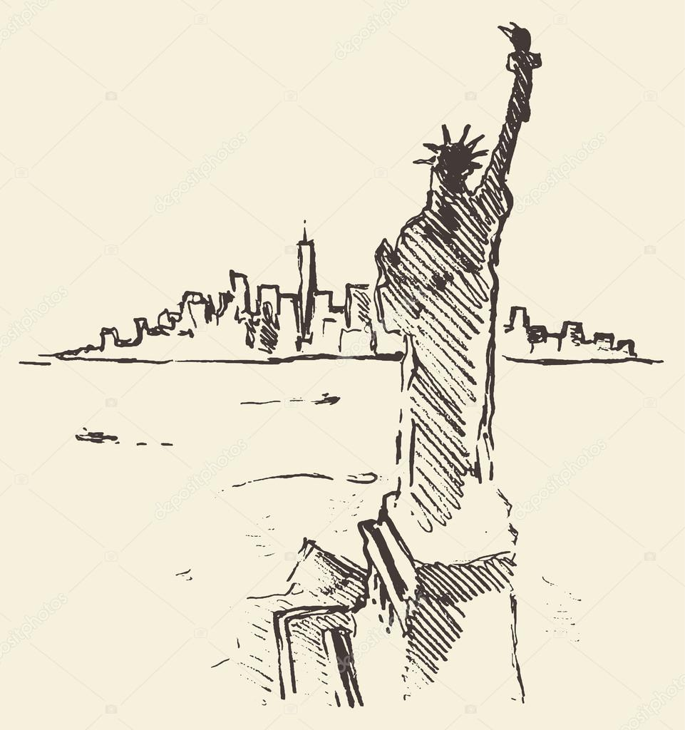Sketch New York city skyline Statue Liberty drawn