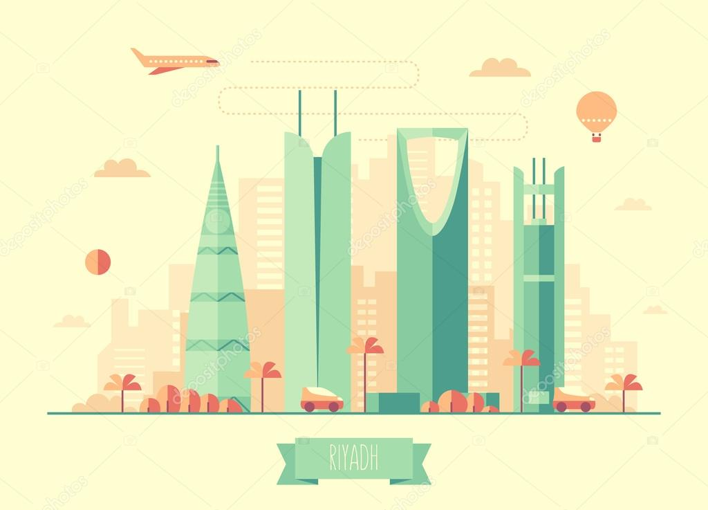 Riyadh skyline vector illustration flat design