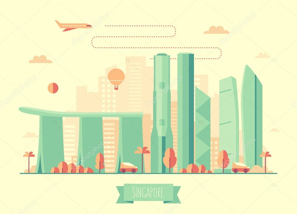 Singapore skyline architecture illustration flat
