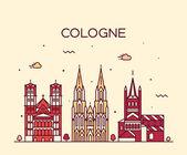Kölner Skyline Vektor Illustration linearer Stil