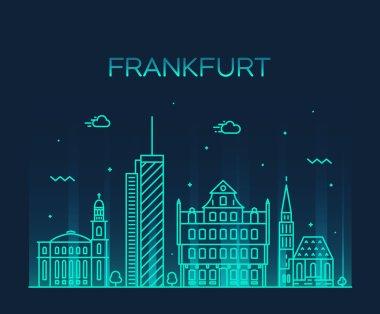 Frankfurt skyline vector illustration linear style