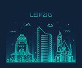 Fotografie Leipzig Skyline Vektor Darstellung linearer Stil