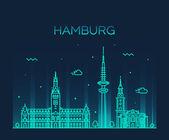 Fotografie hamburg skyline vektor illustration linearer stil