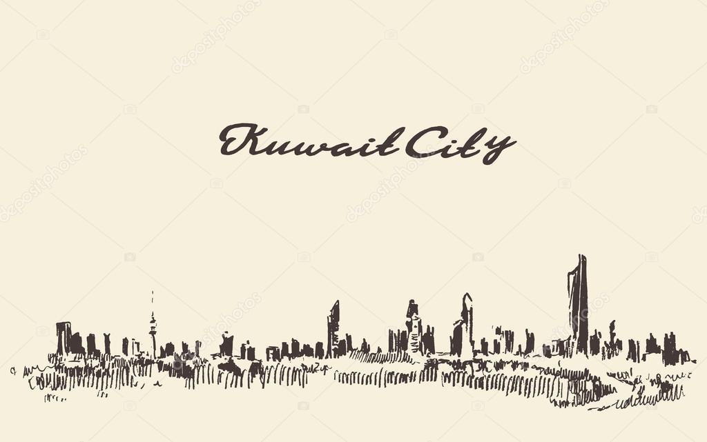 Kuwait skyline vector vintage illustration drawn