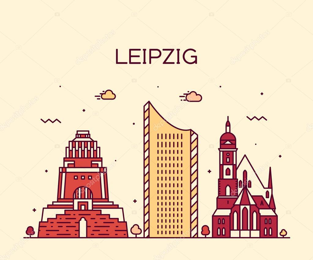 Stil Leipzig leipzig skyline vektor darstellung linearer stil stockvektor