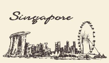 Singapore skyline vector illustration drawn sketch