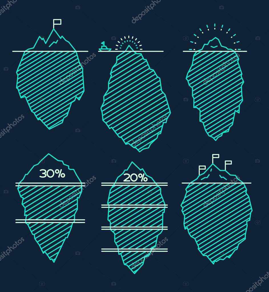 Set icebergs infographic illustration linear style