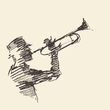 Jazz poster Man playing trumpet drawn sketch