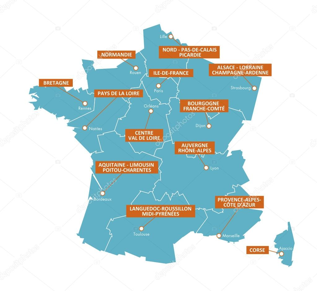 Regions In France Map.Regions Of France Map Cities 3 Stock Vector C Brunpascal Laposte