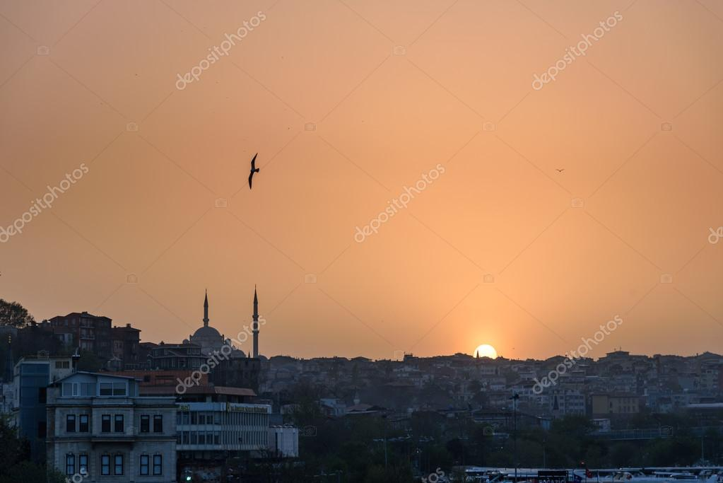 Istanbul skyline at sunset.